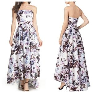 XSCAPE Floral Bustier High/Low Gown
